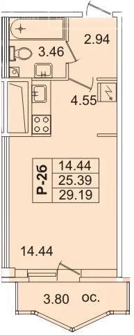 Планировка Студия площадью 27.2 кв.м в ЖК «