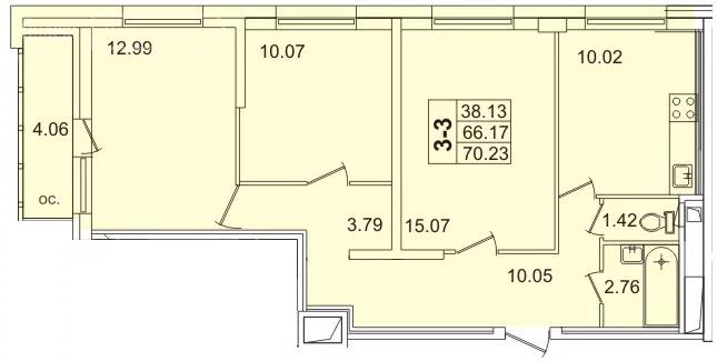 Планировка Трёхкомнатная квартира площадью 69.3 кв.м в ЖК «