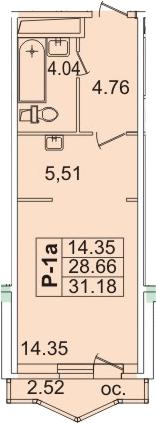 Планировка Студия площадью 31.26 кв.м в ЖК «Лондон Парк»