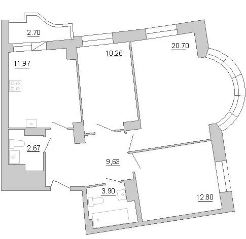 Планировка Трёхкомнатная квартира площадью 73 кв.м в ЖК «