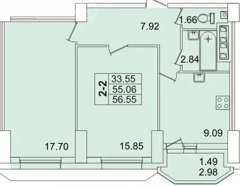 Планировка Двухкомнатная квартира площадью 56 кв.м в ЖК «