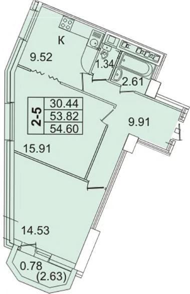 Планировка Двухкомнатная квартира площадью 54.6 кв.м в ЖК «