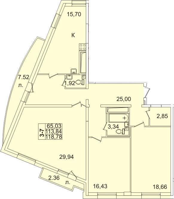 Планировка Трёхкомнатная квартира площадью 123.42 кв.м в ЖК «Лондон Парк»
