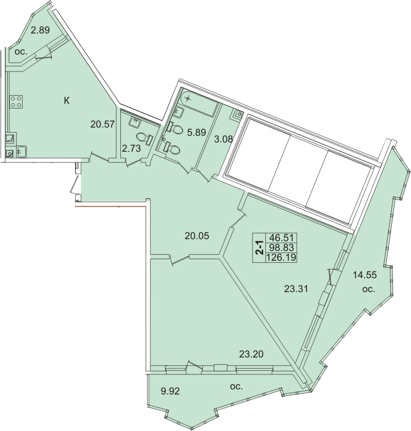 Планировка Двухкомнатная квартира площадью 117.04 кв.м в ЖК «Лондон Парк»