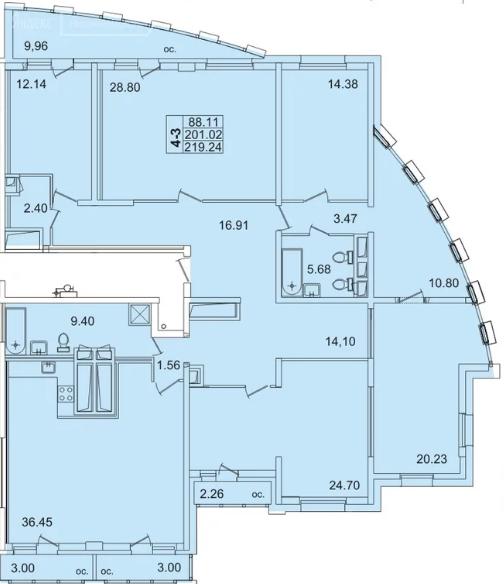 Планировка Пятикомнатная квартира площадью 211.3 кв.м в ЖК «