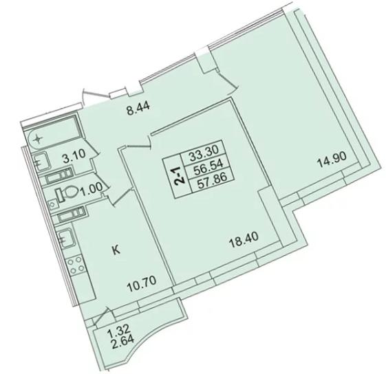 Планировка Двухкомнатная квартира площадью 57.9 кв.м в ЖК «
