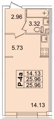 Планировка Студия площадью 26.3 кв.м в ЖК «