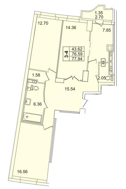 Планировка Трёхкомнатная квартира площадью 77.94 кв.м в ЖК «Лондон парк»