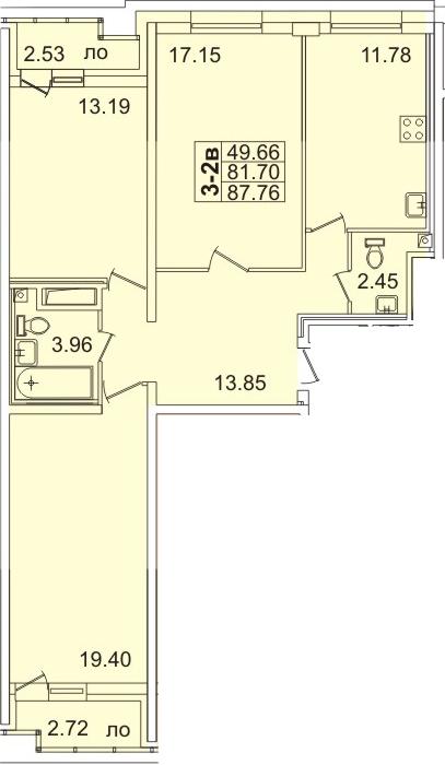 Планировка Трёхкомнатная квартира площадью 86.9 кв.м в ЖК «Лондон Парк»
