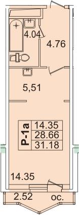 Планировка Студия площадью 31.36 кв.м в ЖК «Лондон Парк»