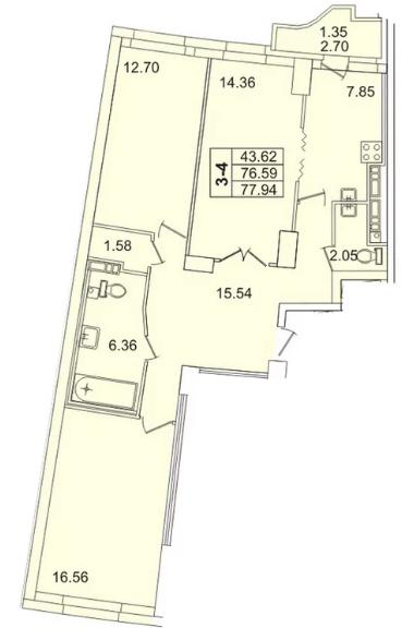 Планировка Трёхкомнатная квартира площадью 77.9 кв.м в ЖК «