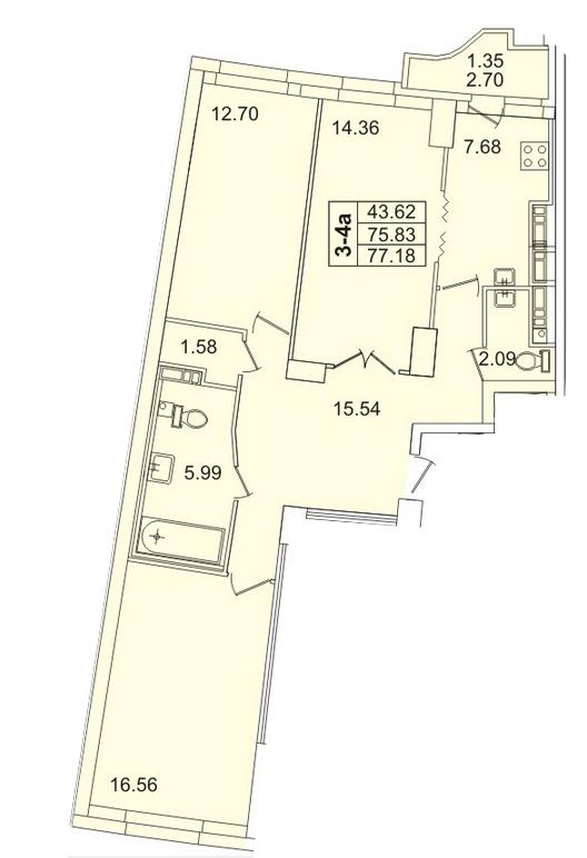 Планировка Трёхкомнатная квартира площадью 77.18 кв.м в ЖК «Лондон парк»