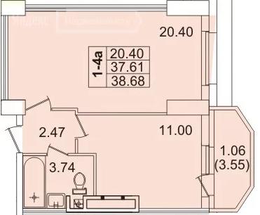 Планировка Однокомнатная квартира площадью 38.7 кв.м в ЖК «