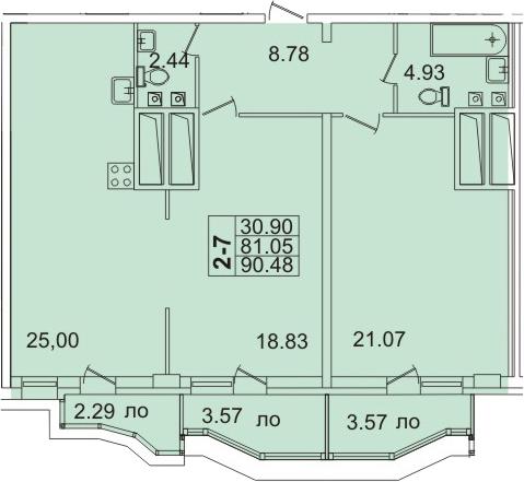 Планировка Двухкомнатная квартира площадью 90.3 кв.м в ЖК «Лондон Парк»