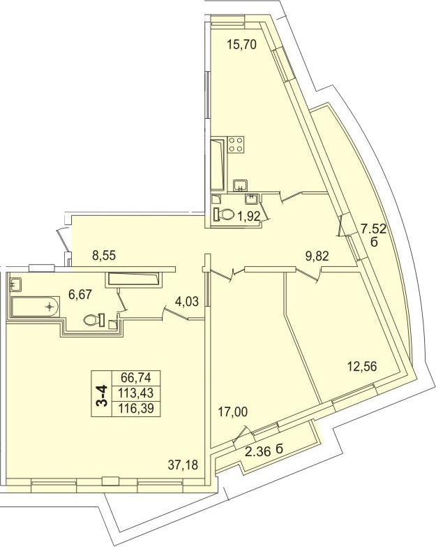 Планировка Трёхкомнатная квартира площадью 124.17 кв.м в ЖК «Лондон Парк»