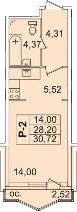 Планировка Студия площадью 29.5 кв.м в ЖК «Лондон Парк»
