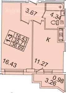 Планировка Однокомнатная квартира площадью 33.4 кв.м в ЖК «