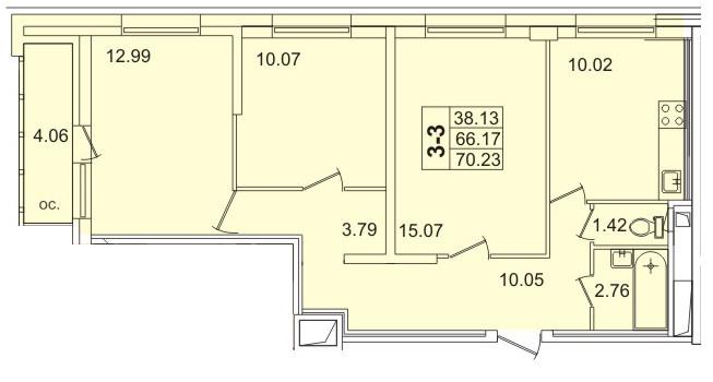Планировка Трёхкомнатная квартира площадью 69.3 кв.м в ЖК «Лондон парк»