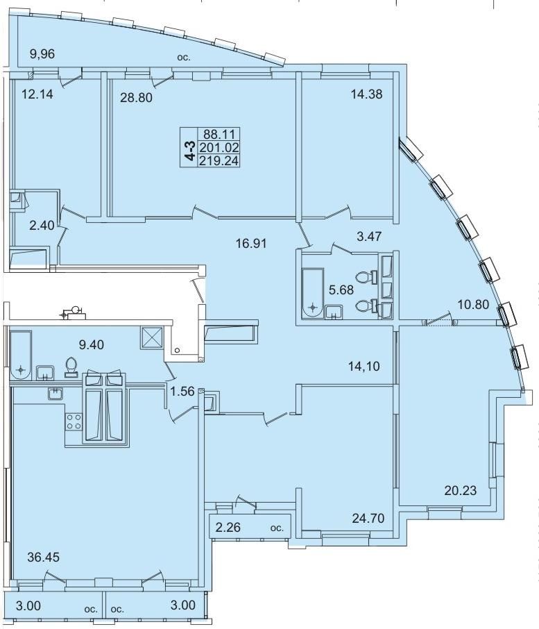 Планировка Пятикомнатная квартира площадью 211.3 кв.м в ЖК «Лондон парк»