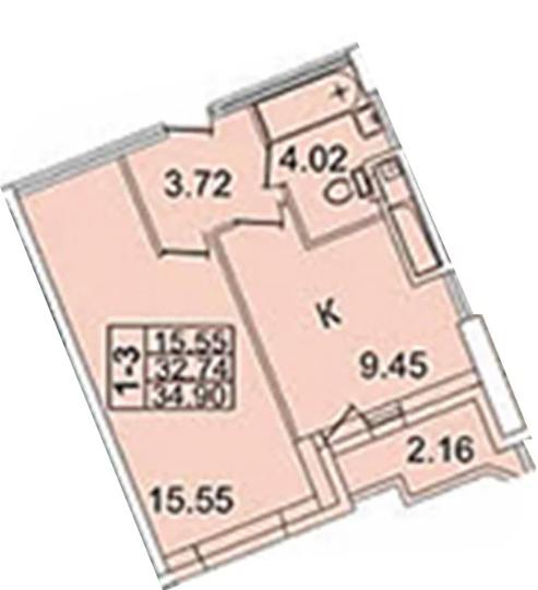 Планировка Однокомнатная квартира площадью 36.7 кв.м в ЖК «