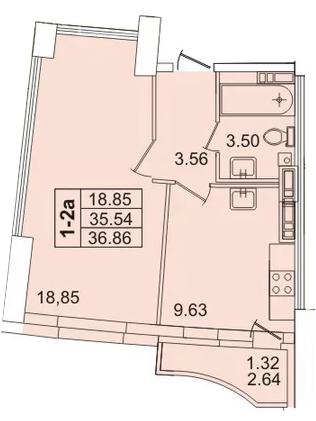 Планировка Однокомнатная квартира площадью 36.9 кв.м в ЖК «