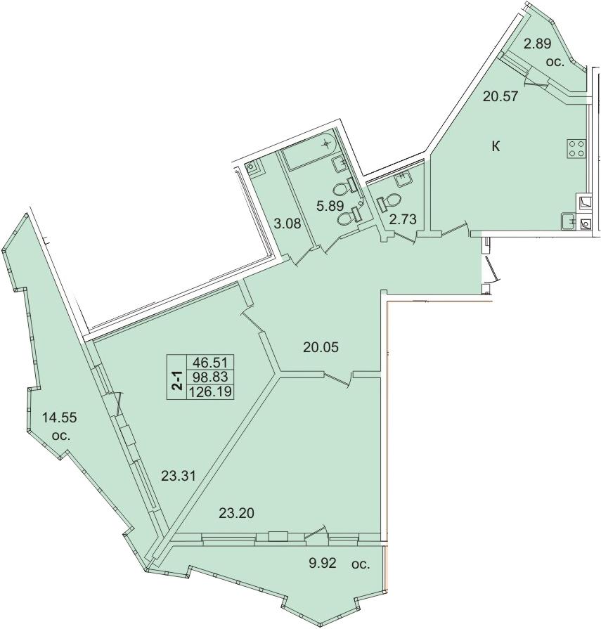 Планировка Двухкомнатная квартира площадью 126.34 кв.м в ЖК «Лондон Парк»