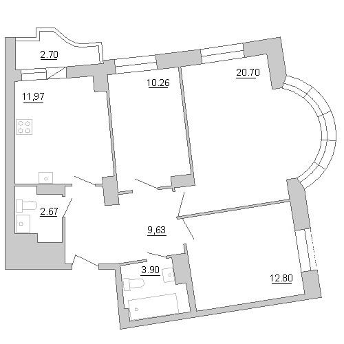 Планировка Трёхкомнатная квартира площадью 72.99 кв.м в ЖК «Лондон парк»
