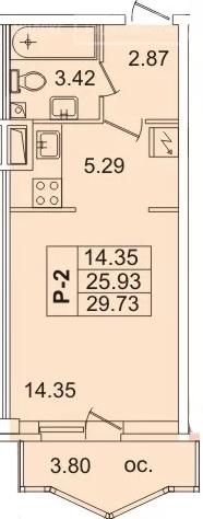Планировка Студия площадью 27.7 кв.м в ЖК «